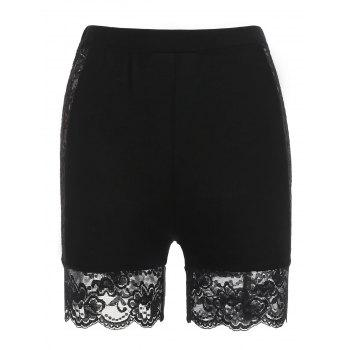 High Rise Lace Panel Short Leggings - BLACK M