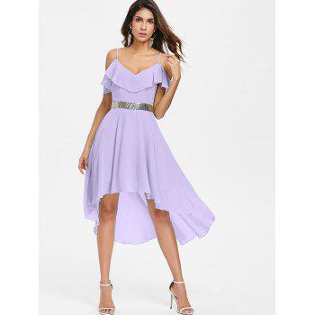 Cold Shoulder Chiffon High Low Flowy Dress - MAUVE S
