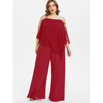 Plus Size Ladder Cut Out Capelet Jumpsuit - LOVE RED 4X