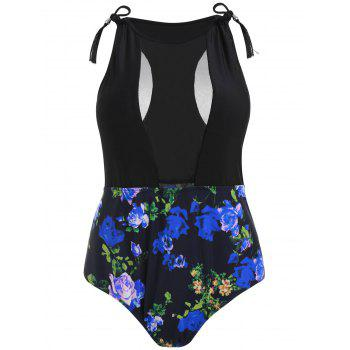 Plus Size Floral High Waisted Swimsuit - DEEP BLUE 1X