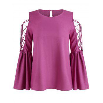 Lace Up Flare Sleeve Tee - ROSE RED XL