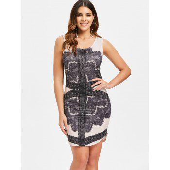 Sleeveless Printed Mini Bohemian Dress - BLACK XL
