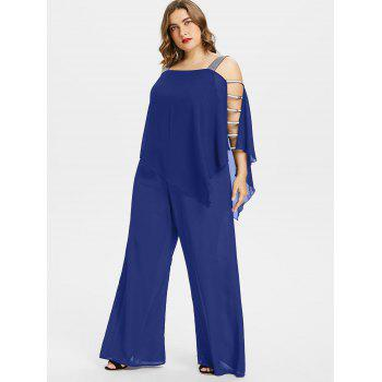 Plus Size Ladder Cut Out Capelet Jumpsuit - EARTH BLUE L