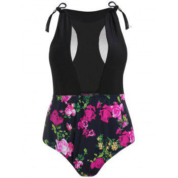 Plus Size Floral High Waisted Swimsuit - ROSE RED 4X