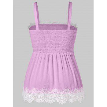Plus Size Smocked Lace Panel Scalloped Tank Top - MAUVE 5X