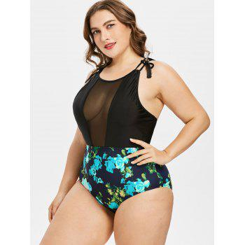 Plus Size Floral High Waisted Swimsuit - LIGHT BLUE 1X