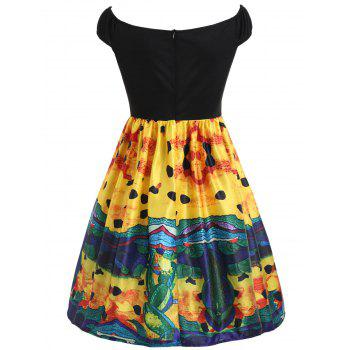 Painting Fit and Flare Vintage Dress - BLACK XL