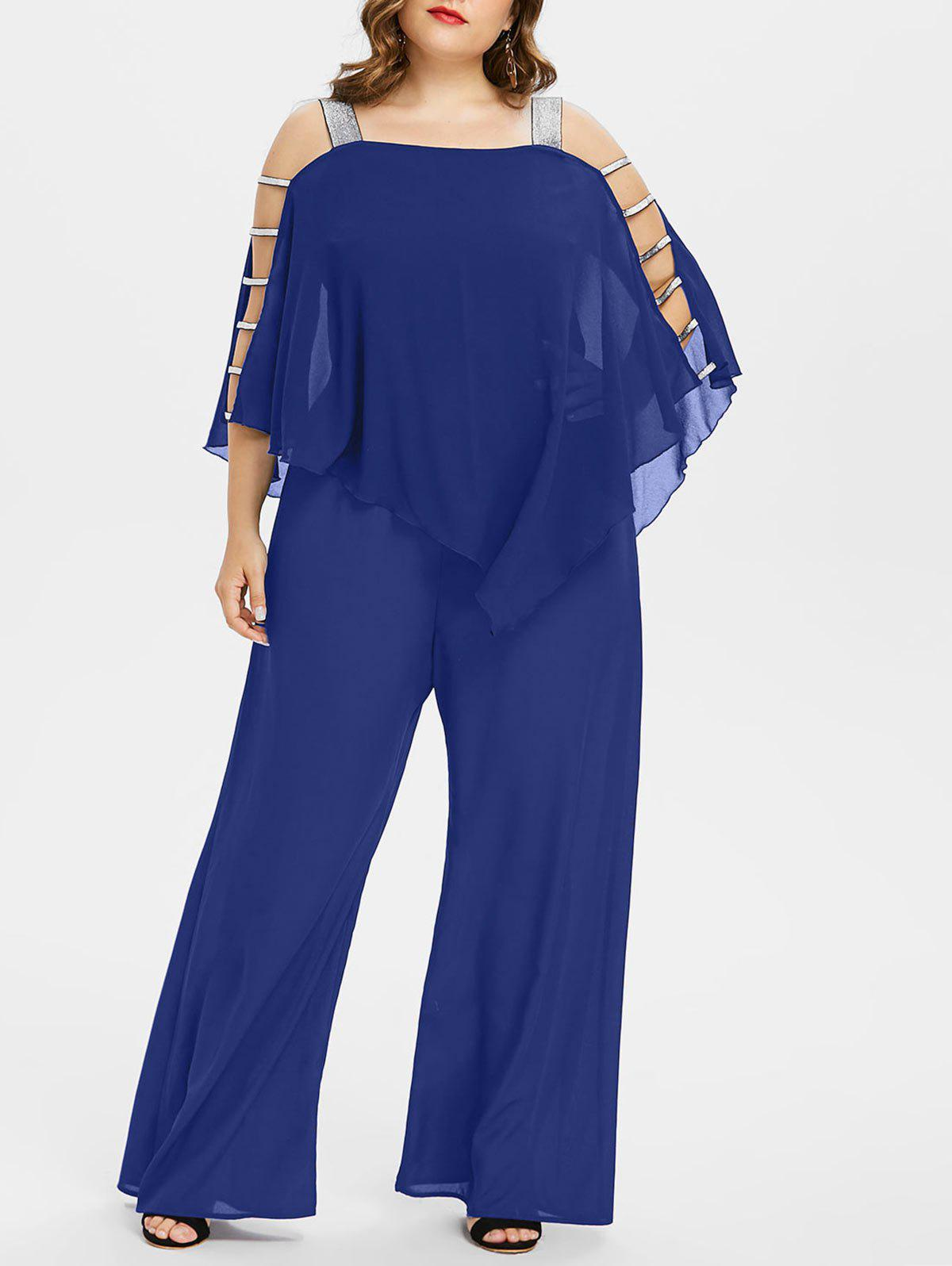 Plus Size Ladder Cut Out Capelet Jumpsuit - EARTH BLUE 4X