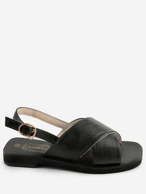 Casual Daily Cross Strap Buckled Sandals - BLACK 39