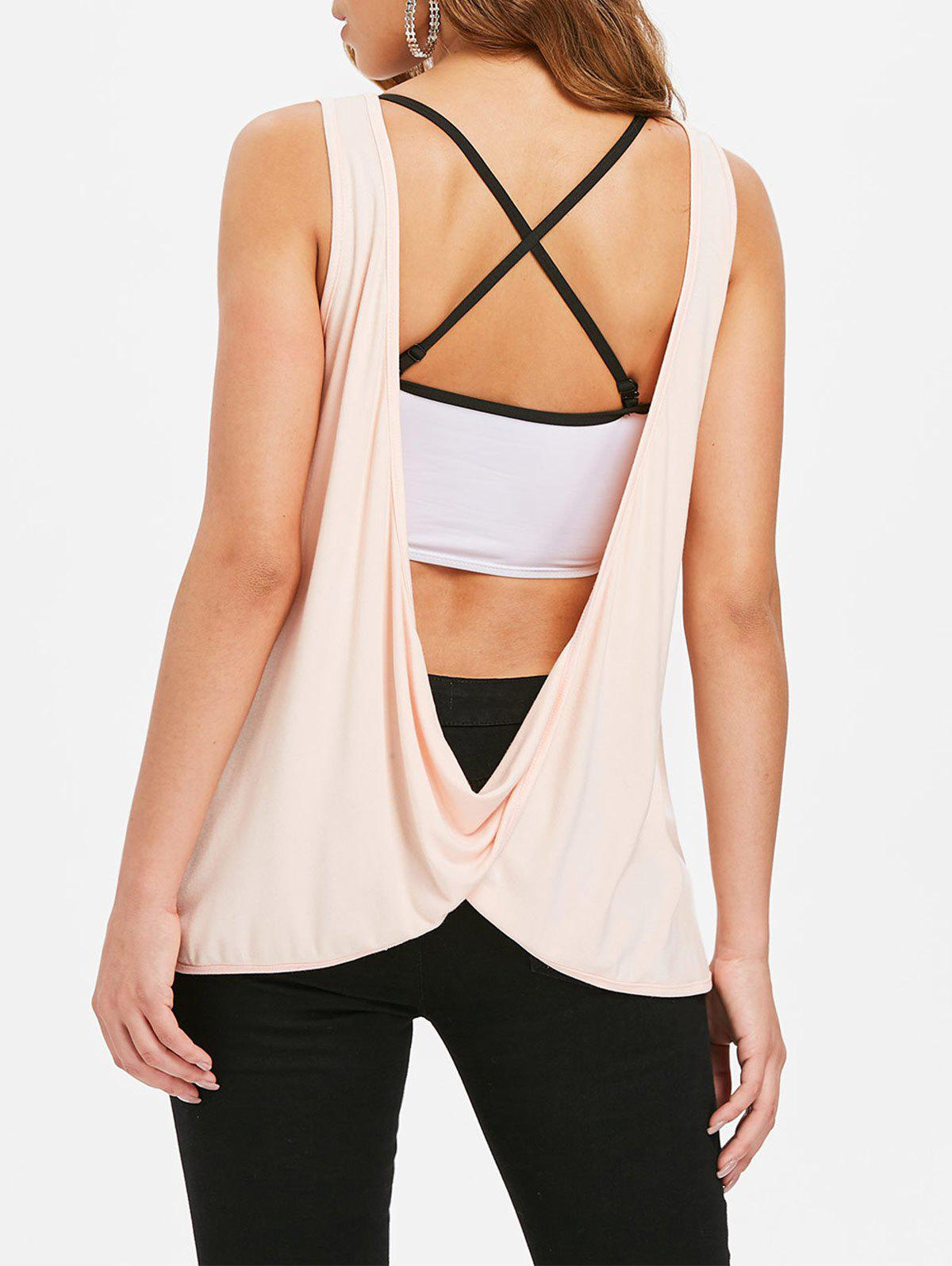 Sleeveless Lace Draped Back Top - PINK BUBBLEGUM S