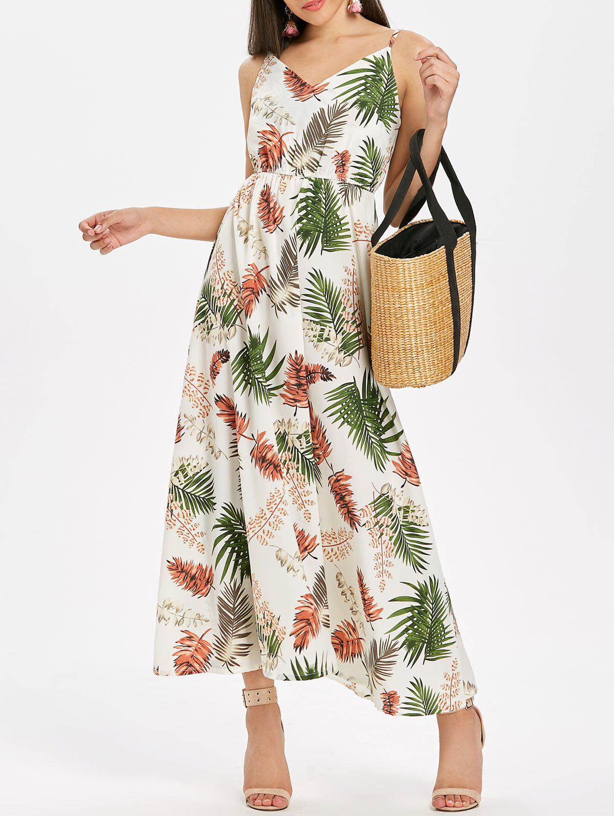 Spaghetti Strap Leaf Print Maxi Dress - multicolor 2XL