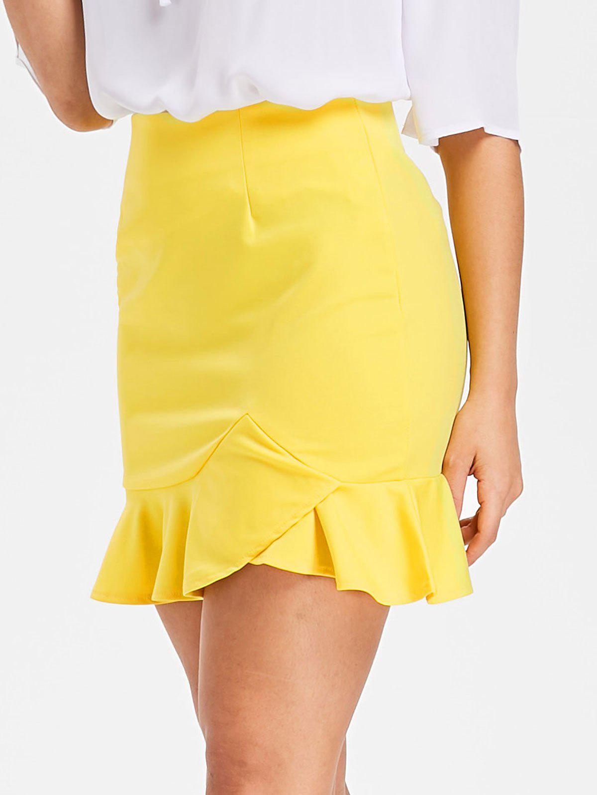 High Waisted Mini Mermaid Skirt - YELLOW S