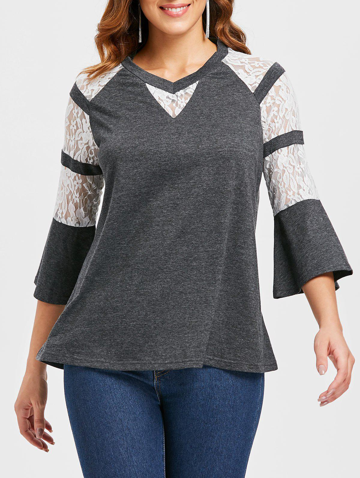 Bell Sleeve Lace Insert T-shirt - GRAY 2XL