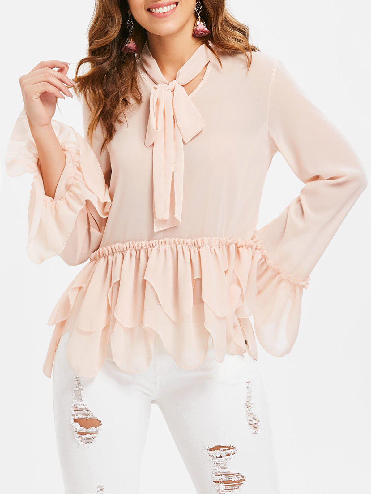 Bell Sleeve Tie Collar Blouse - PINK BUBBLEGUM XL