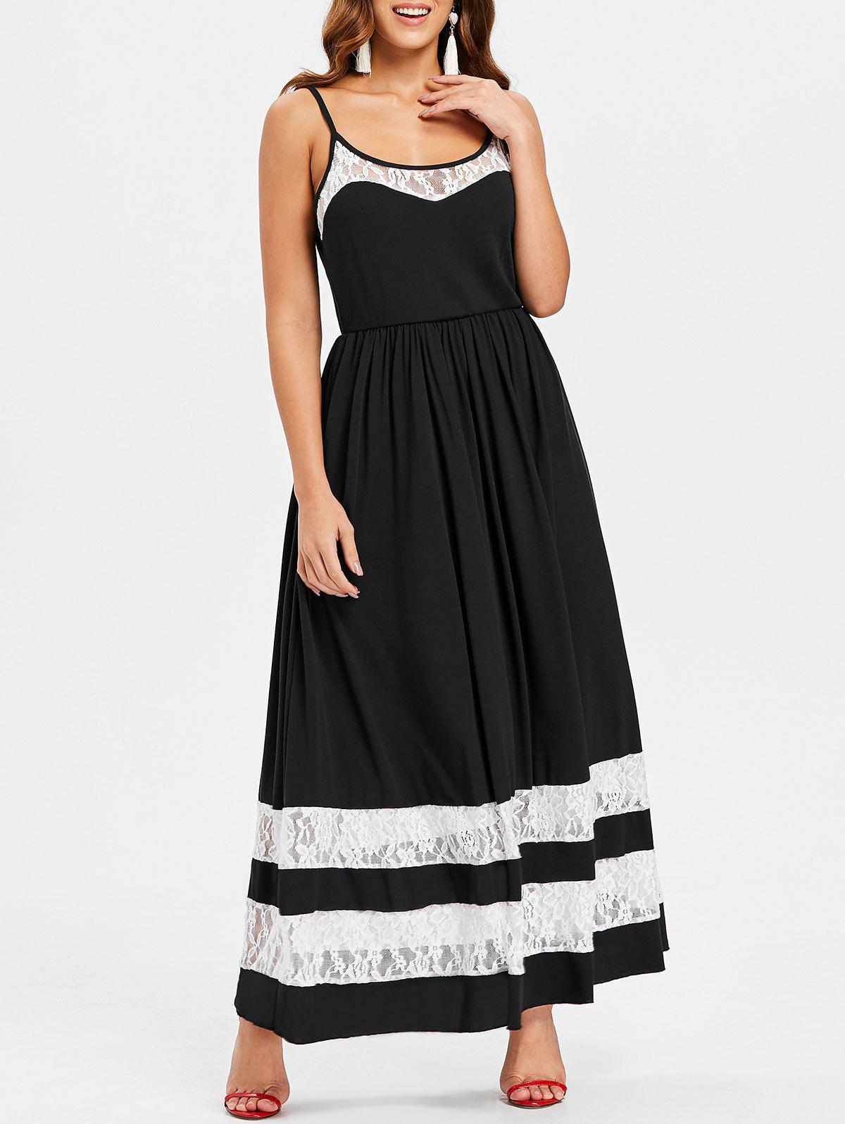 Lace Trim Spaghetti Strap Maxi Dress - BLACK M