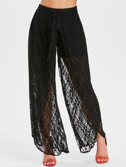 Sheer Lace Overlay Wide Leg Pants - BLACK L
