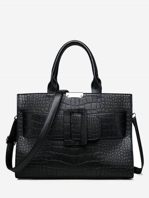 Casual Daily Shopping Embossed Handbag - BLACK