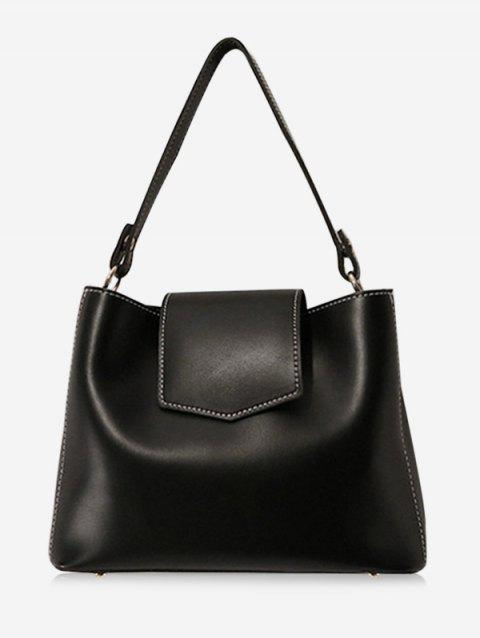 Minimalist Faux Leather Casual Daily Outdoor Crossbody Bag - BLACK