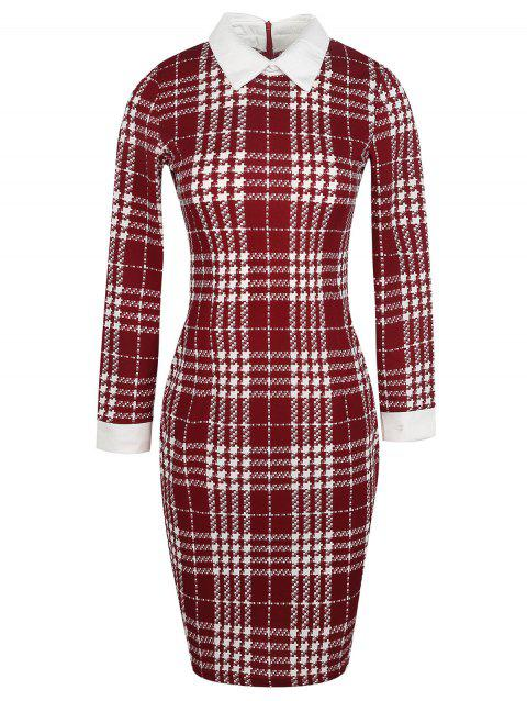 Long Sleeve Houndstooth Pattern Bodycon Dress - RED WINE L