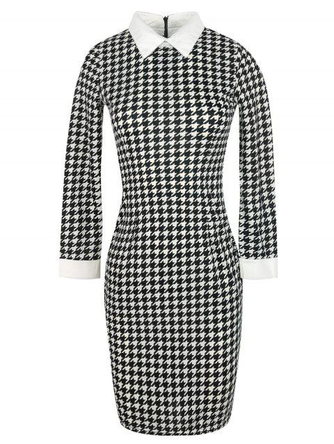 Long Sleeve Houndstooth Pattern Bodycon Dress - BLACK XL