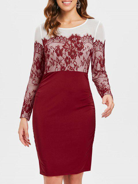 High Waist Long Sleeve Pencil Dress - RED WINE L