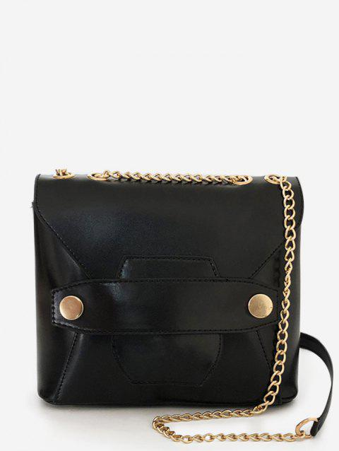 Minimalist Retro Metal Chain Crossbody Bag - BLACK
