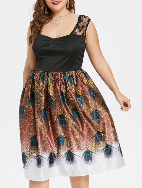 Robe Vintage Plume Grande Taille - multicolor 1X