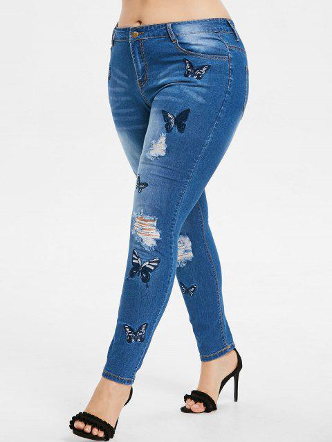 Plus Size Butterfly Embroidered Zipper Jeans - WINDOWS BLUE 5X