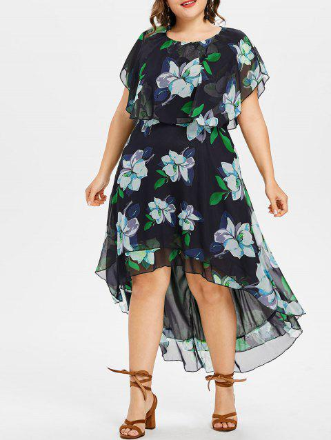 Plus Size Flower Capelet Dress - MACAW BLUE GREEN 1X