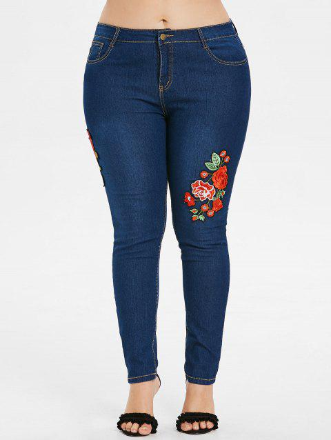 Plus Size Zipper Flower Jeans - DENIM DARK BLUE 4X