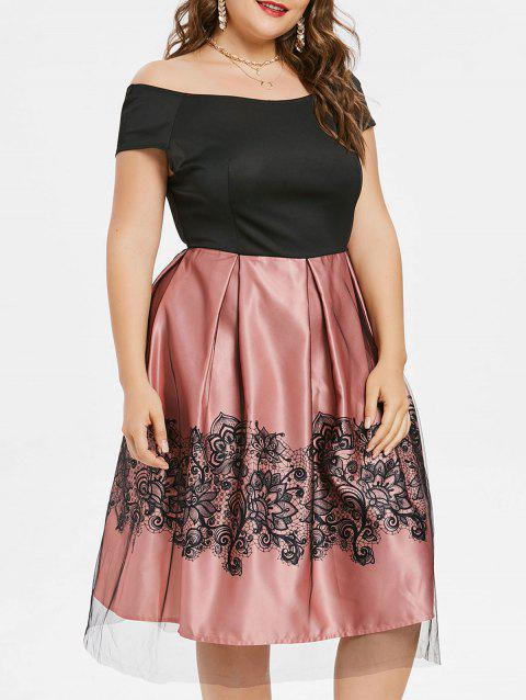 Mesh Overlay Plus Size Flare Dress - TULIP PINK 4X