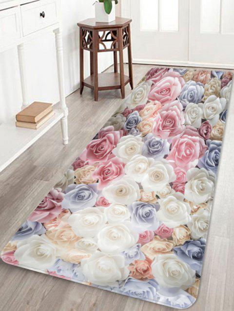 Rose Flower Printed Coral Fleece Skidproof Area Rug - multicolor W24 INCH * L71 INCH