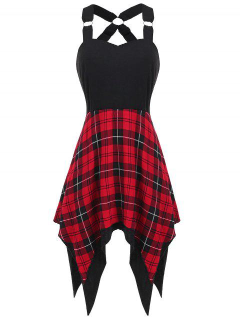 Sweetheart Neck Tartan Print Insert Dress - RED 2XL
