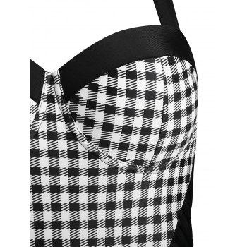 Plaid High Leg Moulded Swimsuit - BLACK 2XL