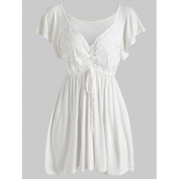 Lace Panel Empire Waist Tunic Blouse - WHITE M