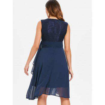 Lace Trim Flare Party Dress - DEEP BLUE M