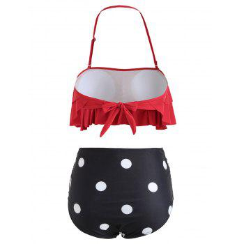 Tier Flounce Polka Dot Bikini - RED L