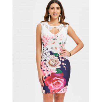 Lace Insert Floral Cut Out Bodycon Dress - multicolor A M