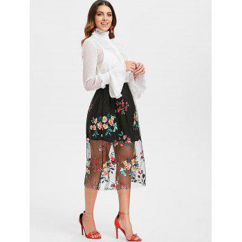 High Rise Embroidered Midi A Line Skirt - BLACK L