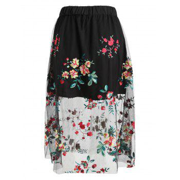 High Rise Embroidered Midi A Line Skirt - BLACK M