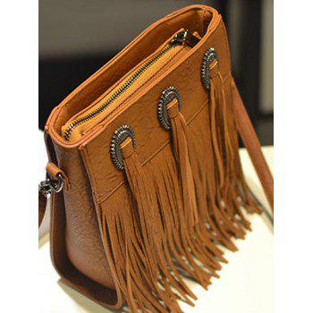 Faux Leather Fringes Retro Crossbody Bag - BROWN