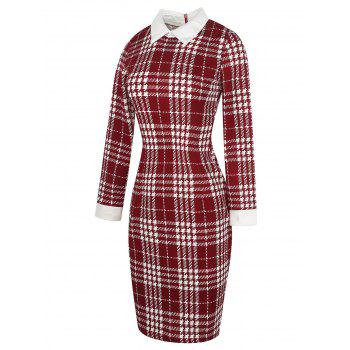 Long Sleeve Houndstooth Pattern Bodycon Dress - RED WINE M