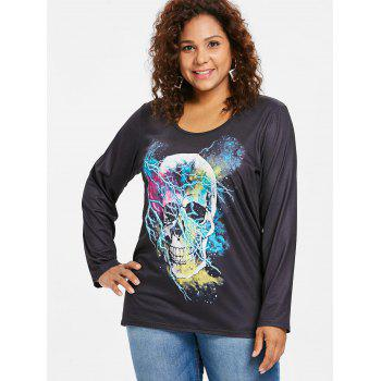 Round Neck Plus Size Long Sleeve T Shirt - BLACK 5X