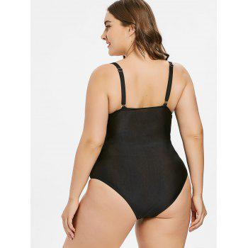 Plus Size Ruched Backless Swimsuit - BLACK 1X