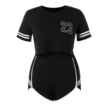 Plus Size Number Top and Shorts Set - BLACK L