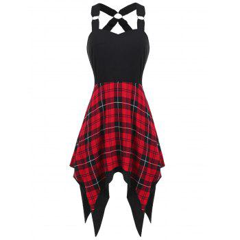 Sweetheart Neck Tartan Print Insert Dress
