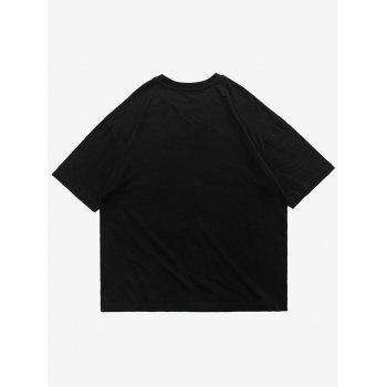 Chinese Character Letter Print Short Sleeve T-shirt - BLACK M