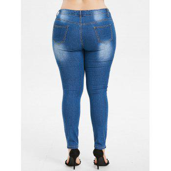 Plus Size Butterfly Embroidered Zipper Jeans - WINDOWS BLUE L
