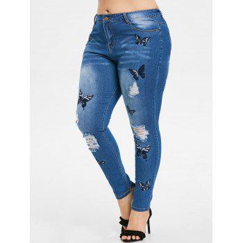 Plus Size Butterfly Embroidered Zipper Jeans - WINDOWS BLUE 1X