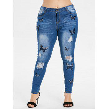 Plus Size Butterfly Embroidered Zipper Jeans - WINDOWS BLUE 3X